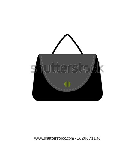 Stylish womens handbag. Fashionable feminine accessory. Trendy leather, glamour accessories of different types isolated on white background. Monochrome vector illustration.