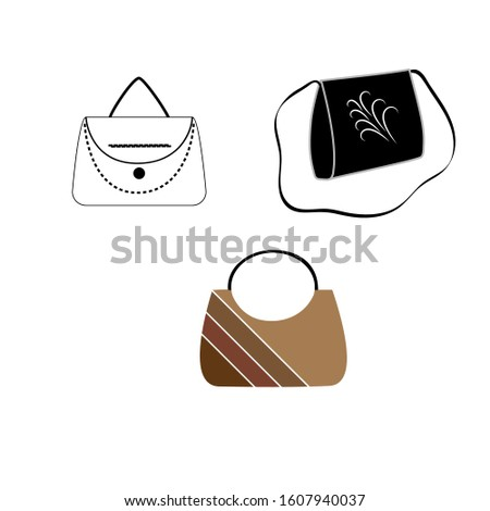 Stylish womens handbags - tote, shopper, hobo, bucket, satchel and pouch bags. Trendy leather accessories of different types isolated on white background. Colorful vector illustration.