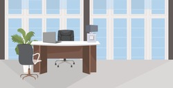 stylish workplace with computer monitor at office modern cabinet interior empty no people room with furniture flat horizontal