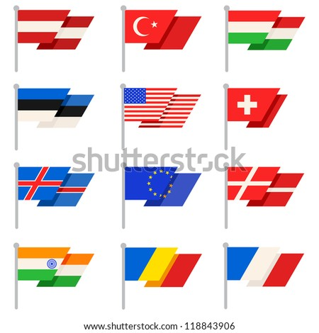 Stylish World flags. Vector