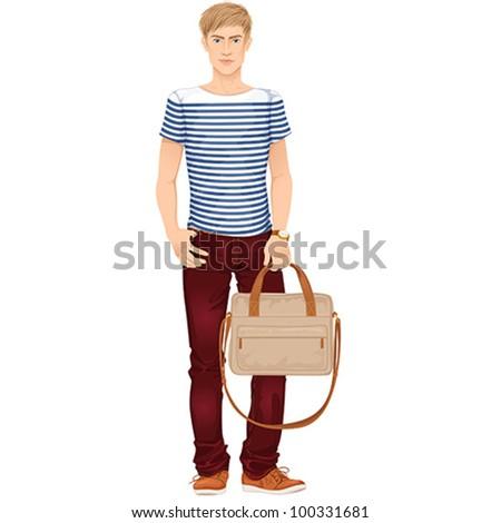 Stylish young guy, summer street fashion