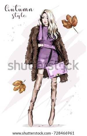 Stylish young woman in fur jacket holding bag. Beautiful blond hair fashion woman. Autumn clothing outfit. Fashion model posing. Sketch.