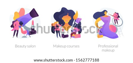 Stylist services flat icons set. Hairdressing procedures, beautician tutorial. Beauty salon, makeup courses, professional makeup metaphors. Vector isolated concept metaphor illustrations.