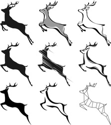stylization leaping deer for your design, isolated objects, vector illustration