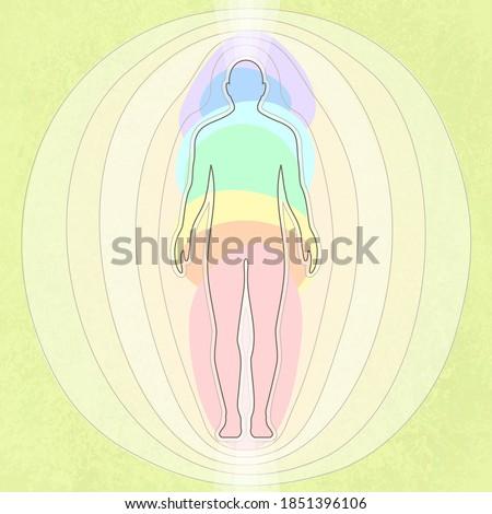Stylization of human energy, seven chakras, body, vector illustration Foto d'archivio ©