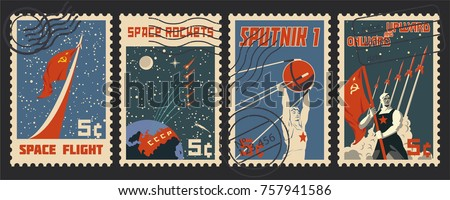 Stylization under the Retro Soviet Space Propaganda Postage Stamp