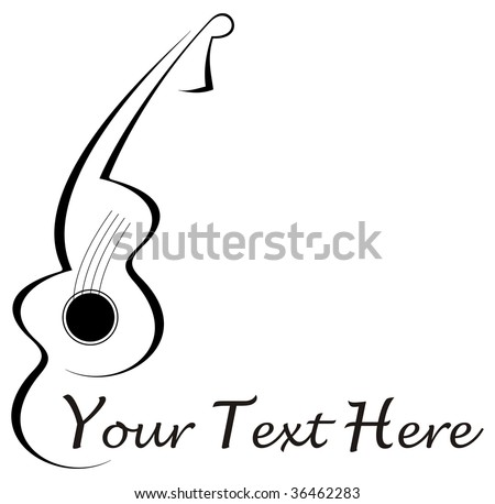 stock vector : Stylized abstract guitar tattoo - black image on white