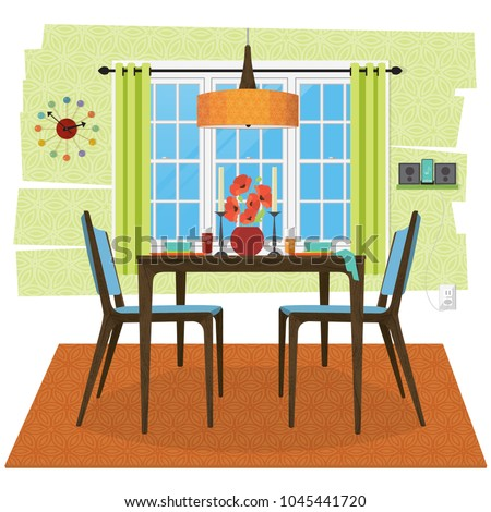 Stylized and cozy dining room scene. Wooden table and chairs with with place settings, lamp, flowers, candles. Snazzy retro clock and MP3 Charger on shelf. Flat style with perspective, minimal detail,