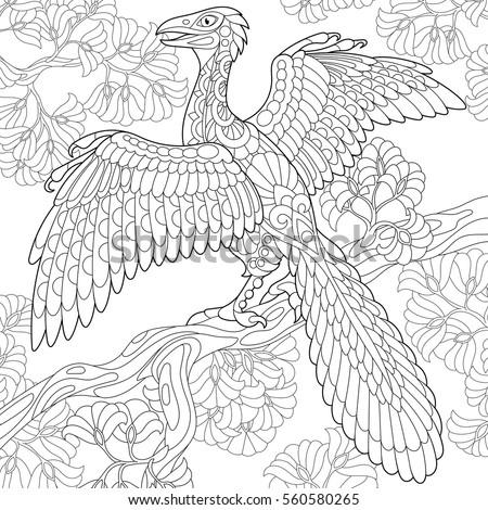 stylized archeopteryx dinosaur  ...
