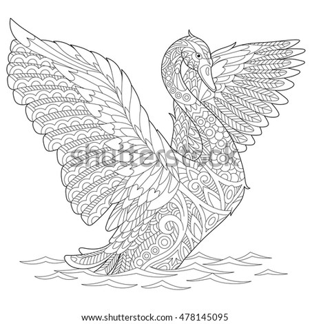 stylized beautiful swan