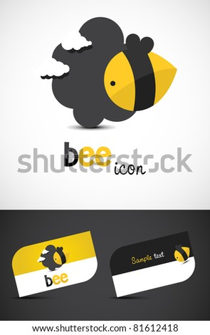 Stylized bee icon such logo and business cards EPS10 vector