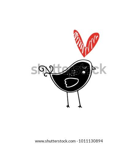 Stylized bird in love. Decor elements. Valentine's day card, scandinavian style. Vector, clip art.