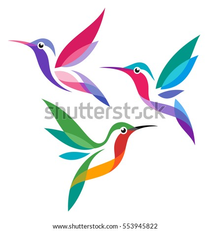 stylized birds   hummingbirds