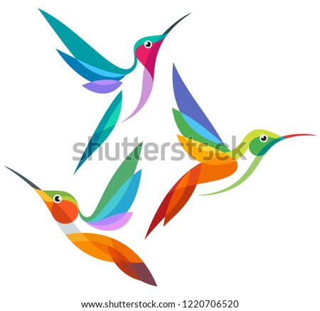 Stylized Birds - Hummingbirds in flight