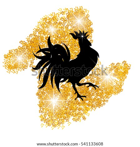 Stylized black cock on a background of golden sand. Year red rooster. Vector illustration