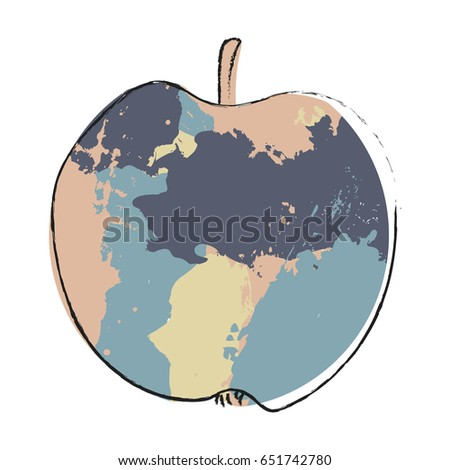 stylized blue apple vector
