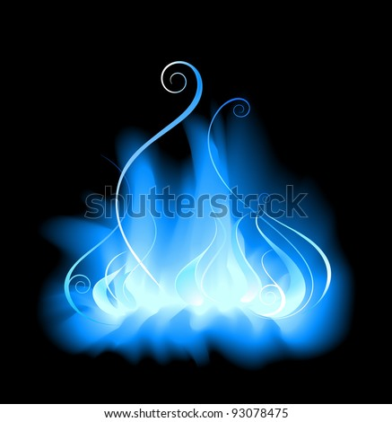 stylized, blue, gas flame on a black background.