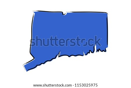 Stylized blue sketch map of Connecticut