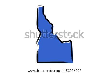 Stylized blue sketch map of Idaho