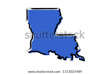 Stylized blue sketch map of Louisiana