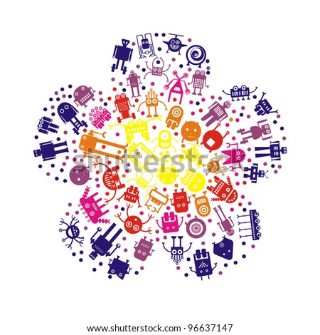 stylized bright flower with robots on white