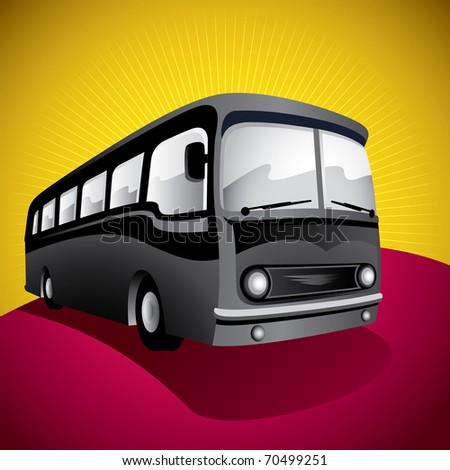 Stylized bus illustration. Vector illustration.
