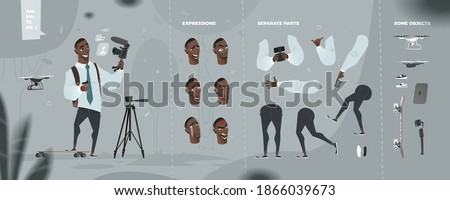 Stylized Business Character with Camera. Vlog Theme. Set for Animation