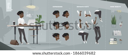 Stylized Business Characters Set for Animation. Staying Woman with Laptop