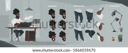 Stylized Business Characters Set for Animation with Some Separated Parts of Body. Sitting Man