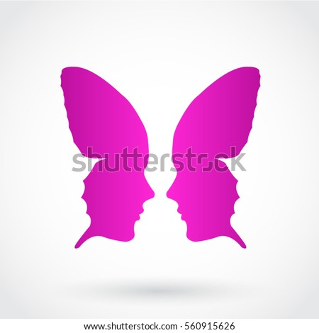 stylized butterfly face pink