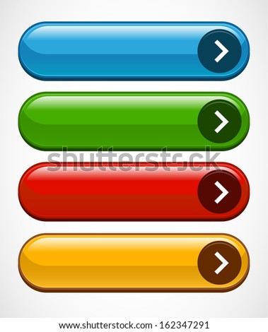 Stylized buttons, bars or banners