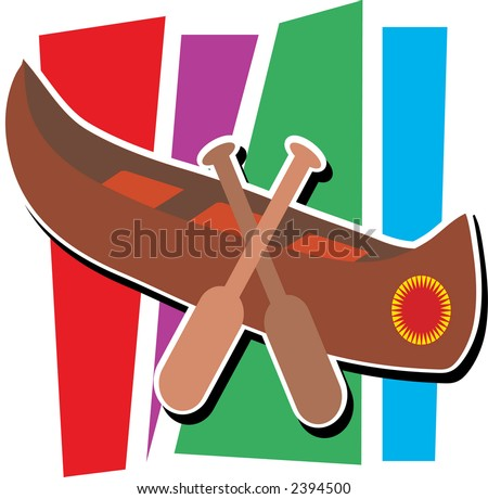 Stylized canoe with two paddles and striped background