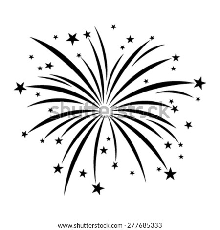Stylized Cartoon Black Fireworks with Stars Bursting vector icon