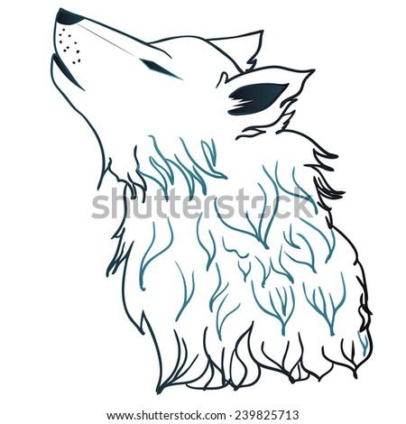stylized cartoon gray wolf head