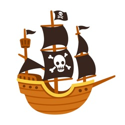 Stylized cartoon pirate ship illustration with Jolly Roger and black sails. Cute vector drawing.