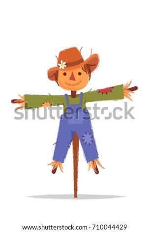 stylized cartoon scarecrow
