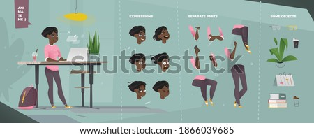 Stylized Casual Characters Set for Animation. Staying Woman with Laptop