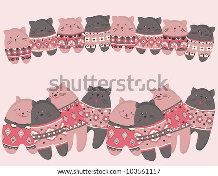 Stylized cats and kittens with patterns arranged in a row. Vector illustration. The symbol of friendship and close relations,love