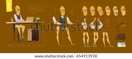 Stylized characters set for animation. Some parts of body
