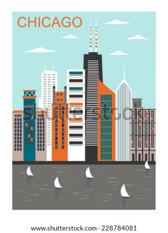 stylized chicago city in bright