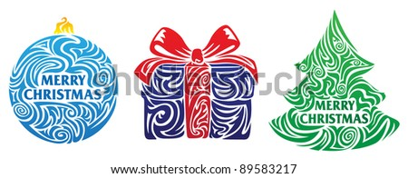 Stylized Christmas elements - Christmas ball, gift, Christmas tree
