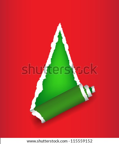 Stylized Christmas tree background in form of torn paper. vector