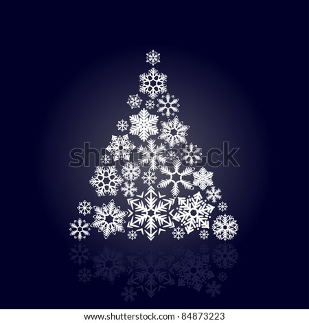 Stylized Christmas tree made of various snowflakes