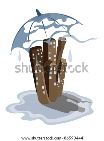 Stylized city landscape with rain and umbrella, standing in a pool