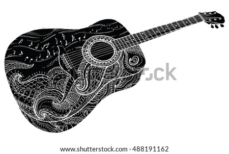 Contour Line Drawing Guitar : Old style drawing musical instruments download free vector art