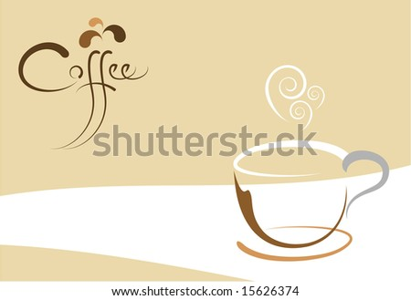 Stylized coffee cup background with custom designed text.