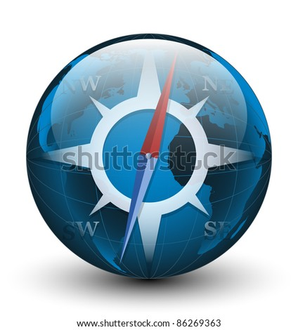 Stylized compass icon. Vector illustration