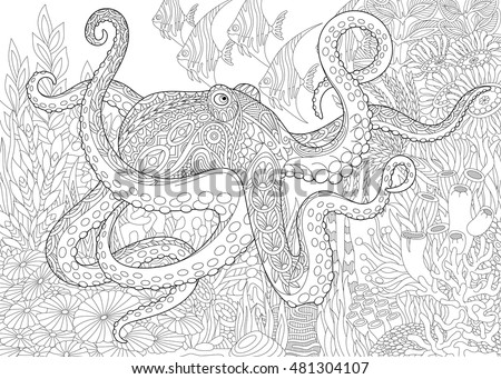 stylized composition of octopus