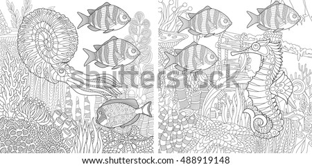 Stylized Composition Of Tropical Fish Calamari Squid Seahorse Underwater Seaweed