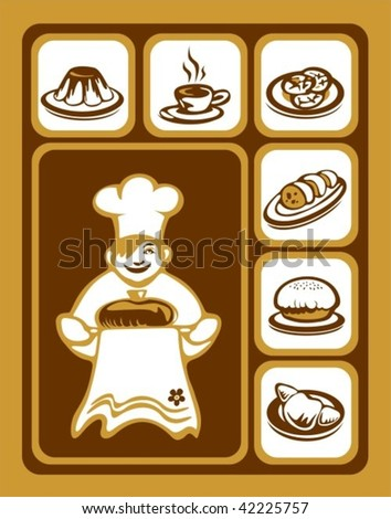Stylized cook and sweet food icons set.